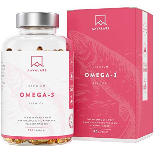 Omega 3 - Aceite de Pescado [2000 mg] AAVALABS - Alta Potencia - Destilado Molecularmente para Mayor Pureza - 800 mg EPA y 400 mg DHA/Dosis Diaria - 120 Cápsulas - Calidad Nórdica