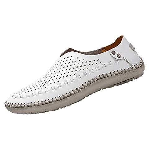 YiLianDa Herren Sommer Breathable Leder Schuhe Gehen Anti Rutsch Slippers Weiß Stoma 45