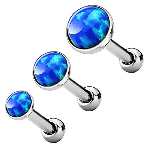 Piercingfaktor Tragus Piercing Helixpiercing Helix Ohr Cartilage Knorpel Stecker mit flachen Opal Steinen Rund Silber Blau Set