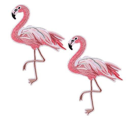 Extra große Flamingo Rose Butterfly Daisy Tulip Blume bestickt Patches Eisen auf Aufnäher Motiv Flamingo