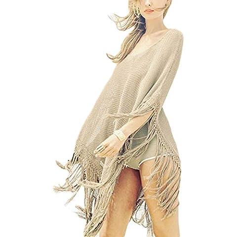 DELEY Donne Mantello Uncinetto Fiocco Abito Mantello Costumi Da Bagno Bikini Coprire Maglia Maglione Scialle Beachwear