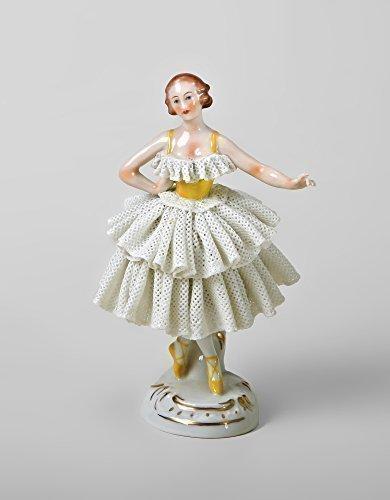 Statuetta in porcellana Ballerina con punte completamente punte Rock giallo