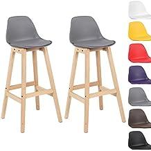 Woltu® # 5092x Taburete de bar Juego de 2Silla de bar (Madera y Plástico) con respaldo silla cocina diseño silla Selección de Colores 2 unidades gris