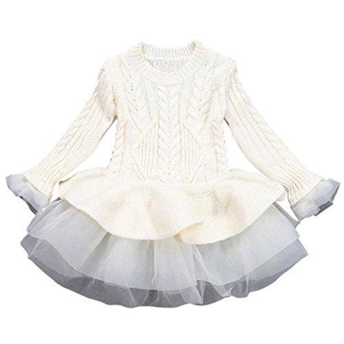 Amlaiworld Baby Mädchen warm Gestrickt Langarm Kleider Mode Niedlich Kinder Flickwerk Pullover Tutu,2-6 Jahren (3 Jahren, Beige) -
