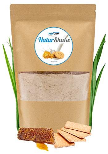 FlixGym NaturShake | Pflanzlicher & vollwertiger Mahlzeitenersatz Shake | natürlich & gesund | Energie, Konzentration & Leistungsfähigkeit | 100% Geschmack | Trinknahrung | 500g (Honig-Keks) -