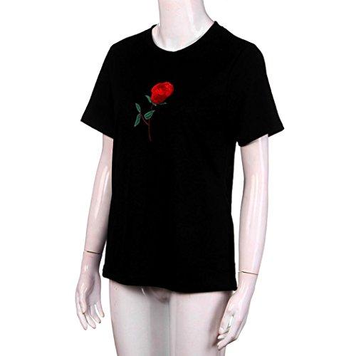 FEITONG Frauen Tops Sommer Rose Stickerei Bluse Kurzes Hülsen-T-Shirt Schwarz