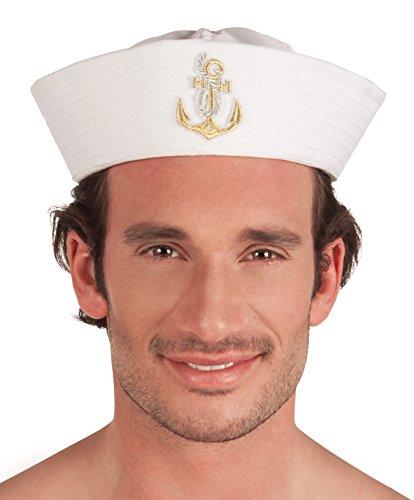 Boland 44359 - Marinemütze Sailor Dylan für Erwachsene, Einheitsgröße, weiß