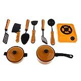 Fenteer Mini Metall Küche Kochgeschirr Gasherd Kochtopf Pfanne Set Kinder Küchenspielzeug Zubehör