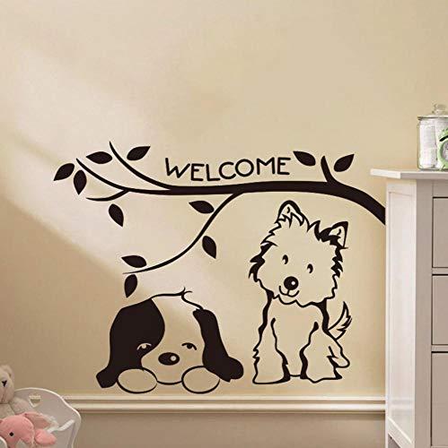 Wandaufkleber Sticker Home Wand Küche Art Decal VinylBlume Home Decor Schlafzimmer Junge Mädchen Kinderzimmer Sticker Katze und Hund willkommen schwarz 58x70cm (Willkommen Hause Mädchen Zu Baby Dekorationen)