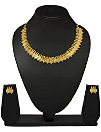 Meenaz Gold Plated Laxmi Temple Coin Necklace With Earrings Set For Women