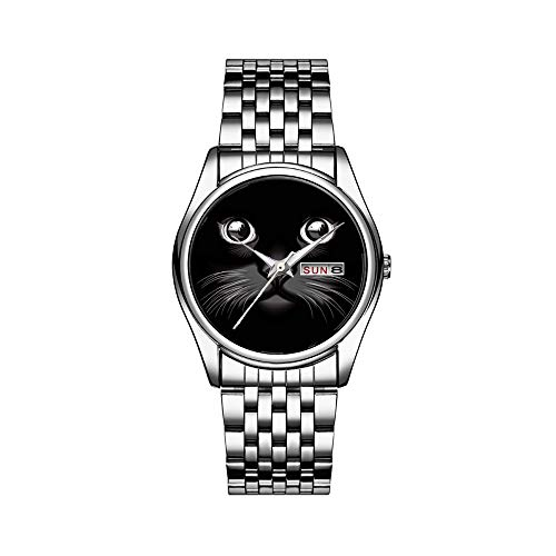 Männer Luxusuhr 30m Wasserdichte Datum Herrenuhr Sportuhren Herren Armbanduhr Quarz Casual Geschenk Schwarze Katze Gesicht Augen Uhr