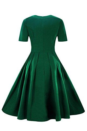 MisShow Damen Elegant 1950er Retro Vintagekleid Einfarbig Cocktailkleid Festlich Kleider Sommerkleid Knielang Grün Gr.S - 2
