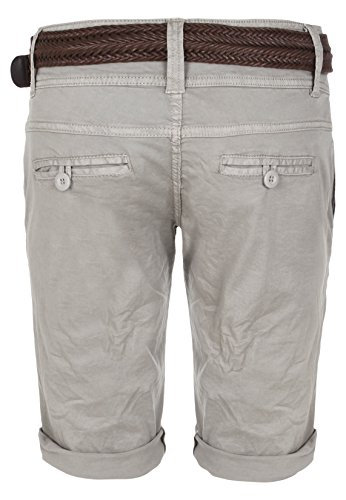 Fresh Made Damen Bermuda-Shorts im Chino Style | Elegante kurze Hose mit Flechtgürtel Light-Grey