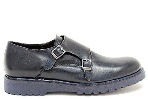 Scarpe uomo eleganti classiche doppio cinturino Monkstrap senza lacci pelle blu made in ITALYDAMAL0020-Blu-44
