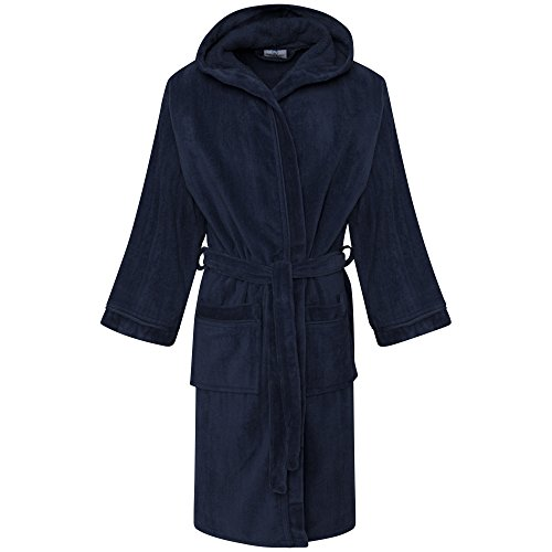 Textile.Plus ® Bathrobe Kids, Boy/Girls 100% Egyptian Cotton Velour Towel Dressing Gown Bathrobes (12-14 Years, Navy)
