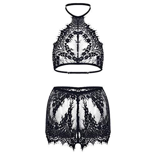 et Spitze Unterwäsche BH und Slip Reizwäsche Set Bikini Halter Spitze BH Lingerie Unterwäsche Nachthemd Negligee String Reizwäsche ()
