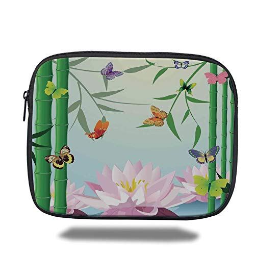 Tablet Bag for Ipad air 2/3/4/mini 9.7 inch,Butterflies,Butterflies on The Branch of Lotus Bamboo Flower Exotic Nature Mod Graphic Art Home,Multi,3D Print -