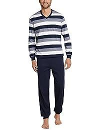 Schiesser hommes Pyjama longues bandes classiques S-XXL - Bleu foncé