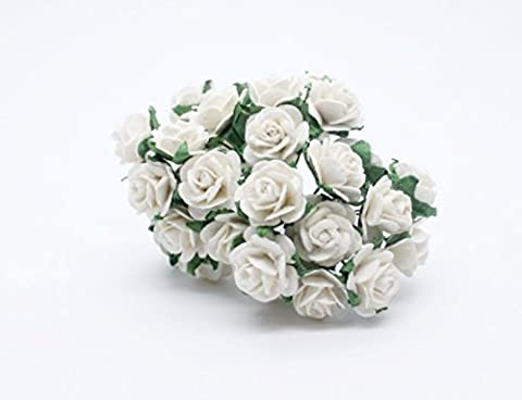 White Rose Scrapbooking Craft DIY 100pcs 12mm Blume Saa Mulberry Paper Wedding