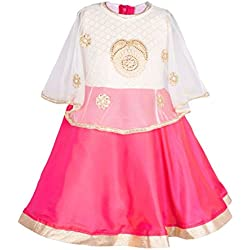 My Lil Princess Baby Girls Birthday Party wear Frock Dress_Pink Poncho_5 - 6 Years