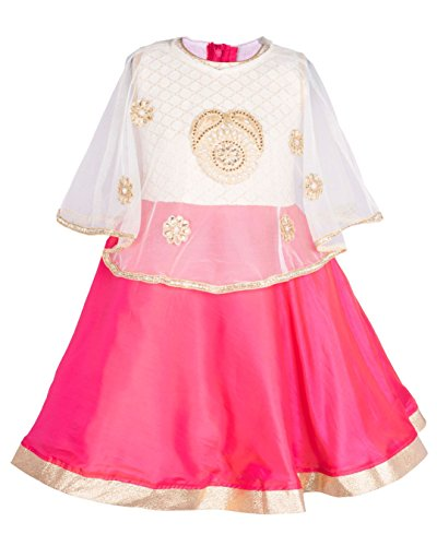 My Lil Princess Baby Girls Birthday Party wear Frock Dress_Pink Poncho_3 - 4 Years