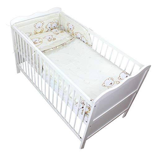 TupTam Baby Bettwäsche mit Nestchen Gemustert 3-TLG, Farbe: Bärchen Mond Beige, Anzahl der Teile:: 3 TLG. Set