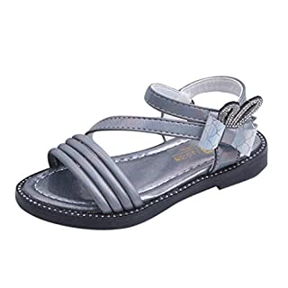 Deep lovly Infant Baby Child Baby Girl Summer Girl Bow Rhinestone Rabbit Ear Butterfly Princess Shoes Sandals Roman Shoes Non-Slip Shoes School Shoes Running Shoes Baby Shower(Gray,32)