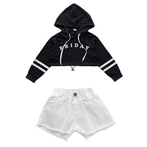 VoleseniTM Mädchen Kinder Modern Jazz Hip-Hop Dancewear Kids Dance Show Kostüme Top&Shorts, Black Top+White Shorts, 130 ()