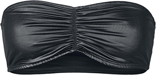 Black Premium by EMP Leatherlook Bandeau Top a fascia donna nero S