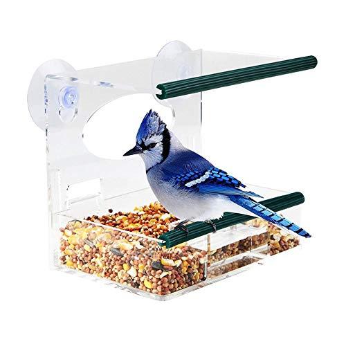 Mangiatoia Per Uccelli Mangiatoia Per Uccelli Con Ventose Forti E Vassoio Per Semi, Mangiatoia Per Uccelli In Acrilico Per Esterni Grandi Kit Per Voliere Per Appendere All'aperto Per Uccelli Selvatici