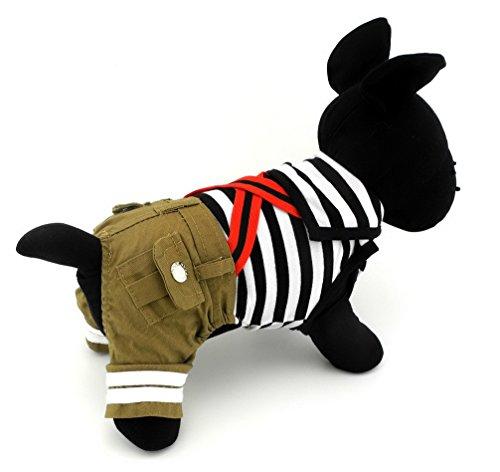 ranphy Kleiner Hund/Katze Sailor Streifen Jumpsuit Marineblau PET -