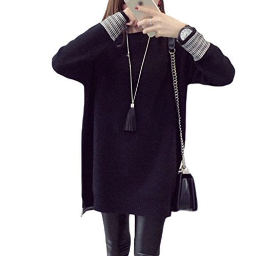 WanYang Loose Mode Grande Taille Femme Pulls Tops Hiver Col Rond Pullover Pull A Manches Longues Noir