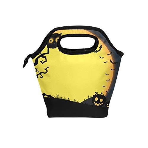 (LIANCHENYI Halloween-Kürbisse, Moolight Eule Fledermäuse Party Kühltasche Lunchbox für Schule Arbeit tragbare Mahlzeiten Handtaschen Lebensmittelbehälter Tragetasche für Picknick)