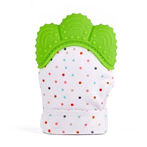 Kwock Baby Zahnen Handschuh Schnuller und Beißringe BPA Frei Silikon Fäustlinge Reduzieren Sie Bakterien und Zahnfleisch Schmerzen Erleichterung Warme Teething Mitten fur 2-12 Monate Baby (Verdant)