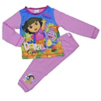 Cartoon Character Products Dora The Explorer Infant Girls Pyjamas Various Designs - 18 Months to 5 Years (3-4 Years, Pale Pink Hola Friends)