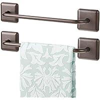 mDesign Juego de 2 toalleros de baño sin taladro – Toallero adhesivo para paños de cocina y toallas de invitados o de sauna – Práctico y elegante secatoallas autodhesivo – color bronce