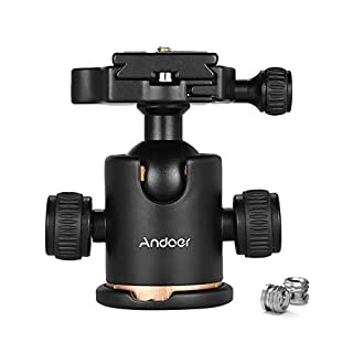 Andoer Camera Tripod Ball Head Ballhead with Quick Release Plate 1/4 Max. Load 8KG/17.64Lbs