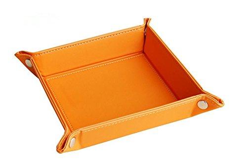 Volle Pu-leder Schmuck Catchall Schlüssel Telefon Münzautomat Valet Fach, HomeYoo Ändern Caddy Nacht Speicher organisator (Orange) (Tasche Ändern Coin)