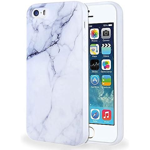 iPhone SE / 5 / 5S Funda , TUTUWEN Textura de Mármol Ultra Fina Transparente Silicona Carcasa Case Cover Bumper Anti-Arañazos Espalda para Apple Iphone 5 / 5S /