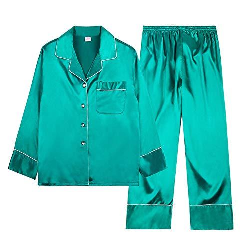 Pyjamas Frau Sommer Langarm Hosen Satin Refreshing Bequeme Freizeit Mode Bademantel Morgen Kleid Grün Große Size Home Kleidung Anzug,M