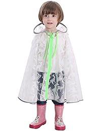 Impermeable transparente para niños Poncho respirable de historieta de niña Poncho impermeable de estudiante de capa