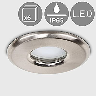 6 x MiniSun Bathroom / Shower / Soffit IP65 Rated Brushed Chrome GU10 Recessed Ceiling Downlights