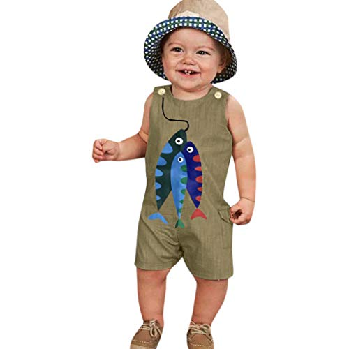 JKLEUTRW Overalls Baby Mädchen Kinder Jungen Jumpsuit mit Fischmuster Armellänge Breathable Passform T Shirt Beach Keep Up Pyjama Niedlich Outdoorhose Trendy Slim Fit Sportshirt