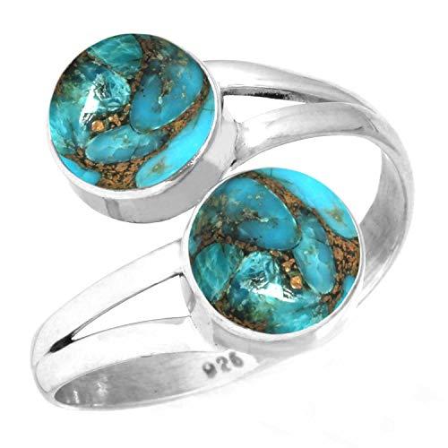 Jeweloporium 925 Sterling Silber Ring Kupfer Blau Türkis Handgefertigte Schmuck Größe 52 (16.6)