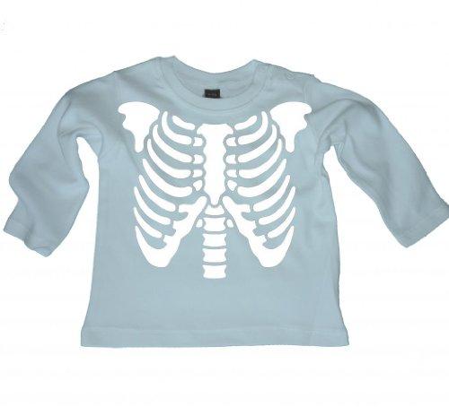 Scheletro Rib cage- Elegante Cool Baby a maniche lunghe Organic T-shirt, top Blue 12-18 mesi