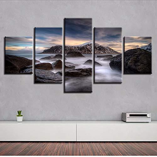 Moderne Wohnzimmer Dekor Wand Modulare Leinwand Bilder HD Druck 5 Stücke Riff Stein Und Insel Landschaft Kunst Malerei Poster Rahmen-150x80cm - Küche Kiefer, Küche Insel