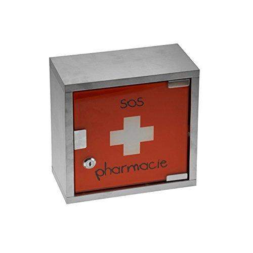 Incidence Paris 44930 Armoire Pharmacie motif SOS Pharmacie Métal Rouge 25 x 25 x 12 cm