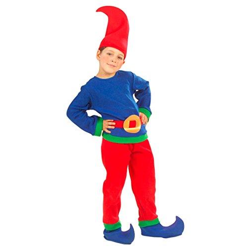 l Kinderkostüm 116 cm blau-rot Gnom Faschingskostüm Zwergenkostüm Kobold Märchenkostüm Wicht Karnevalskostüm (Kobold-kinder Kostüm)