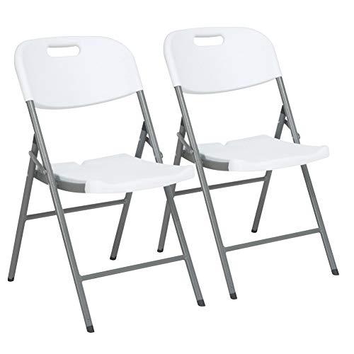 BAKAJI Set 2 Sedie Pieghevoli con Struttura in Metallo e Seduta con Schienale in Resina HDPE Sedia Pieghevole Casa Giardino Esterno Dimensione 83 x 46 x 57 cm (Set da 2)
