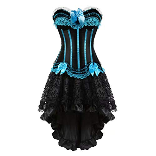 Corsetto Bustino in Pizzo con Gonna Tutu Elegante Donna Sexy Halloween Costumi Natale Abito Set Blu M